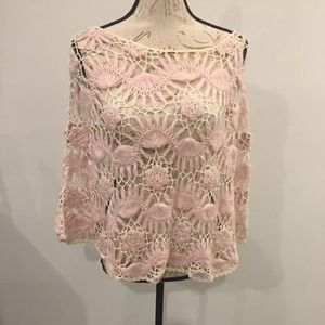 Accessories - Pink & Off White Knit Floral Design Poncho!